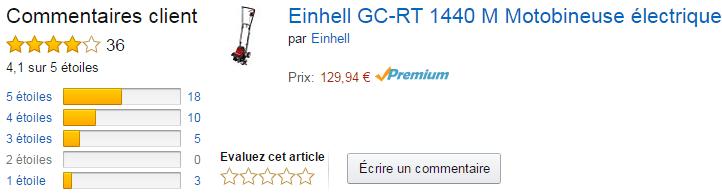 la motobineuse électrique Einhell GC-RT 1440 M avis