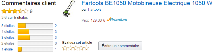 la motobineuse Fartools BE 1050 avis