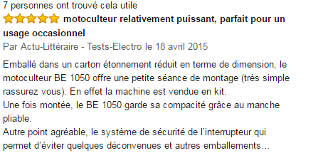 la motobineuse Fartools BE 1050 commentaires